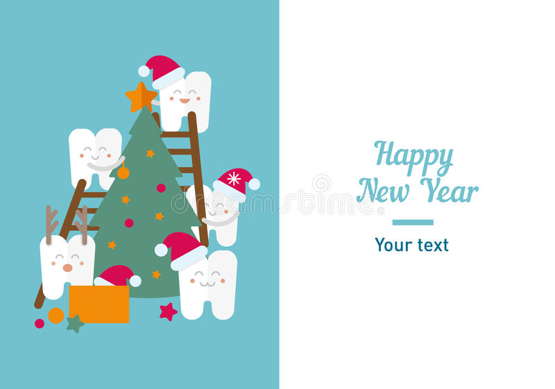 Funny illustration, teeth and New Year stock image