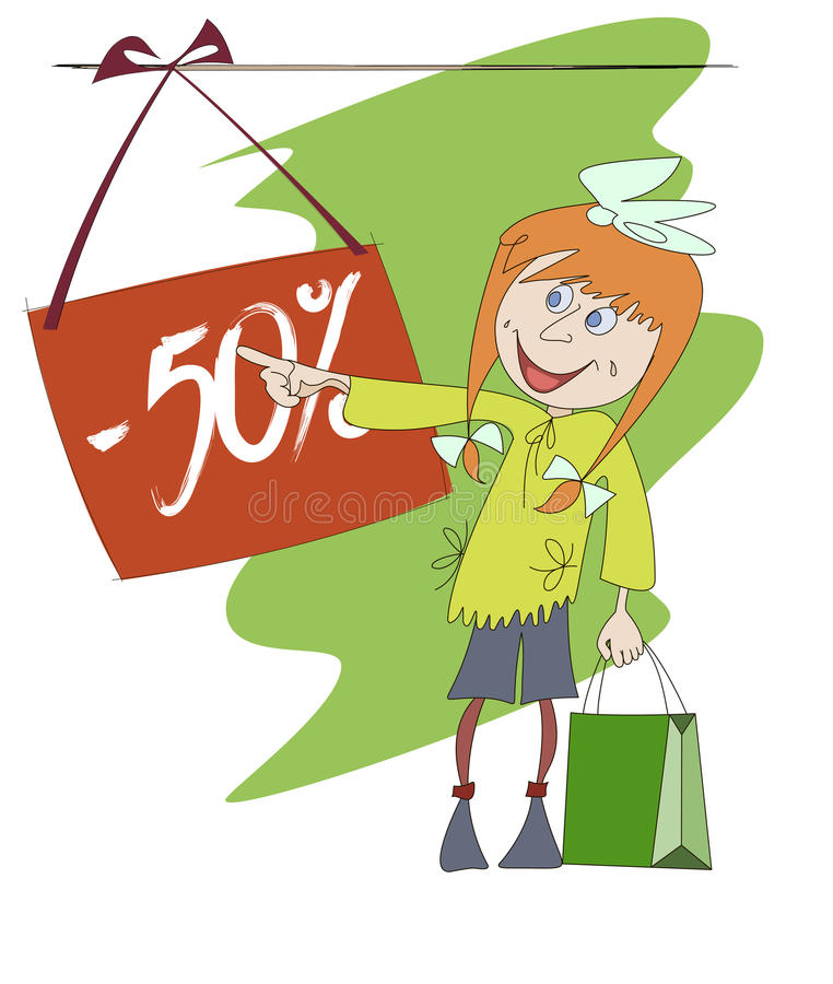 Free Funny Image Of A Shopping Girl Stock Photos - 27135393