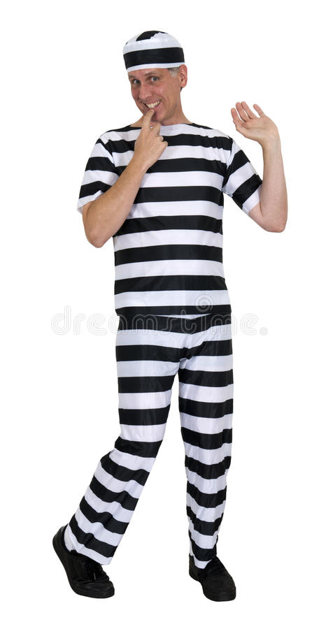 Funny Innocent Convict Burglar Isolated on White. Funny humor, convict acting innocent. It's obvious HE didn't rob the bank! Stop! Thief! Isolated on white stock image