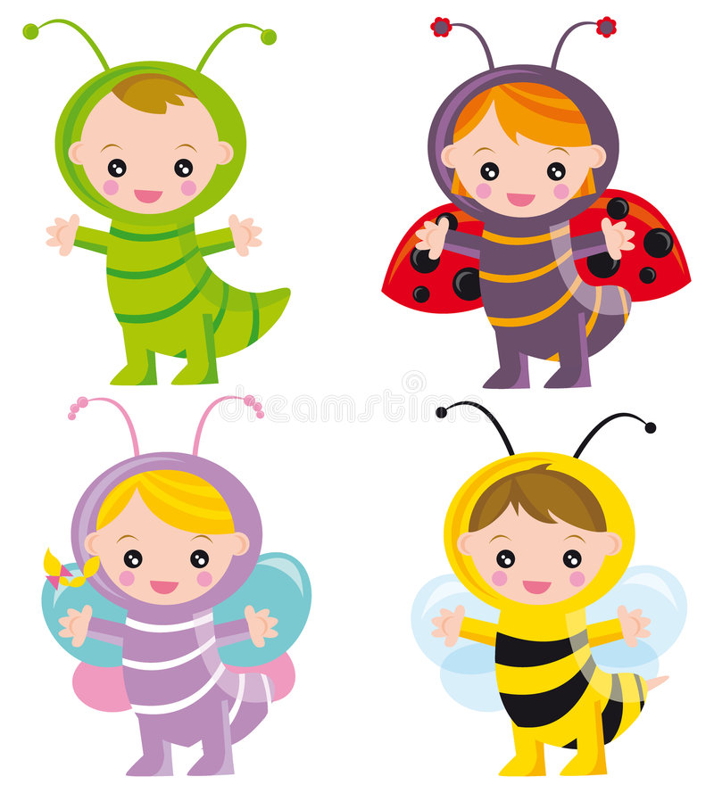 Funny insects. Illustration of bug-kids: caterpillar, ladybug, butterfly and bee
