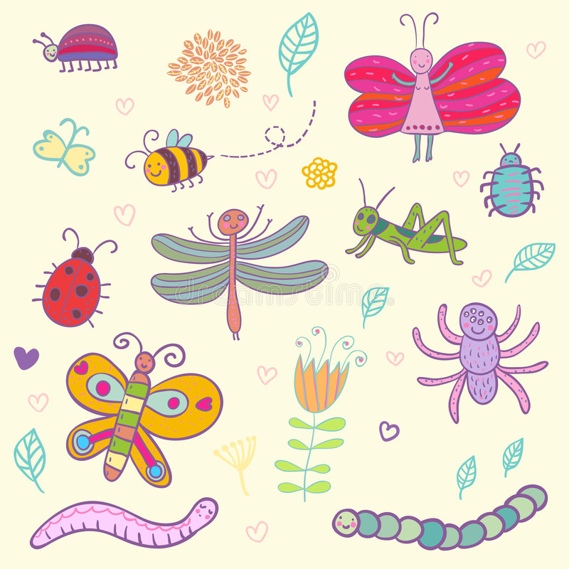 Download Funny insects stock vector. Image of nature, flower, leaf - 8500914