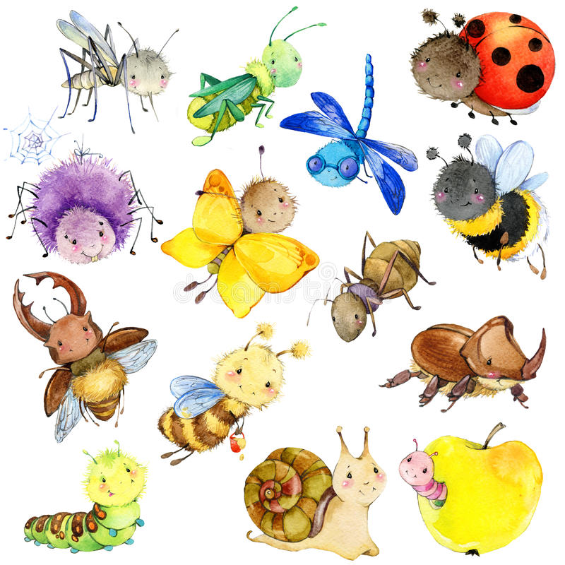 Funny insects collection. Watercolor Cartoon insect. stock illustration