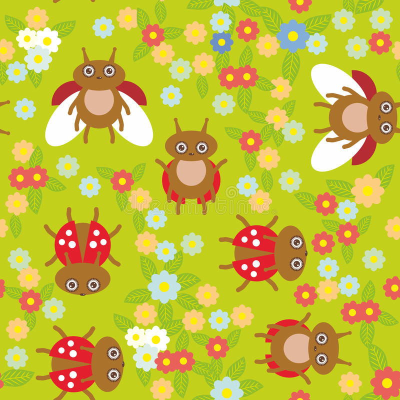 Funny insects ladybugs seamless pattern on green background with flowers and leaves. Vector stock images