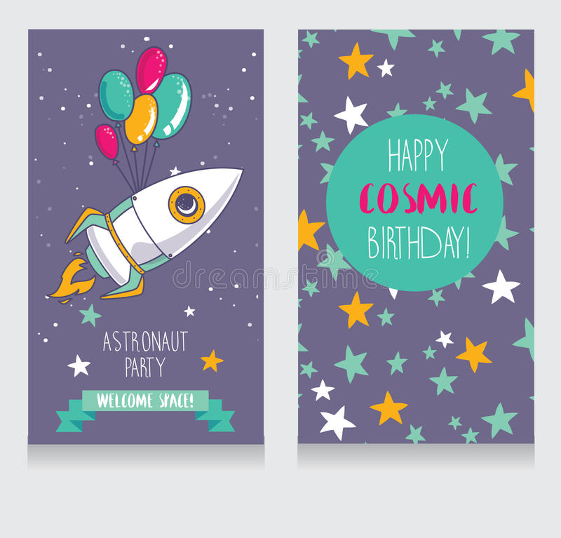 Funny invitation cards for boy's birthday party. Cute rocket with balloons on starry background, funny invitation cards for boy's birthday party royalty free illustration