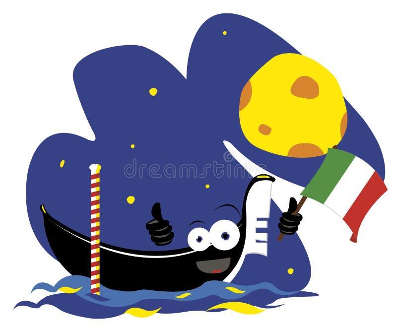 Download Funny Italian gondola stock vector. Illustration of moon - 27181540