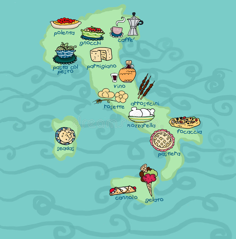 Funny Italy food map. An original food map of Italy.Digital illustration