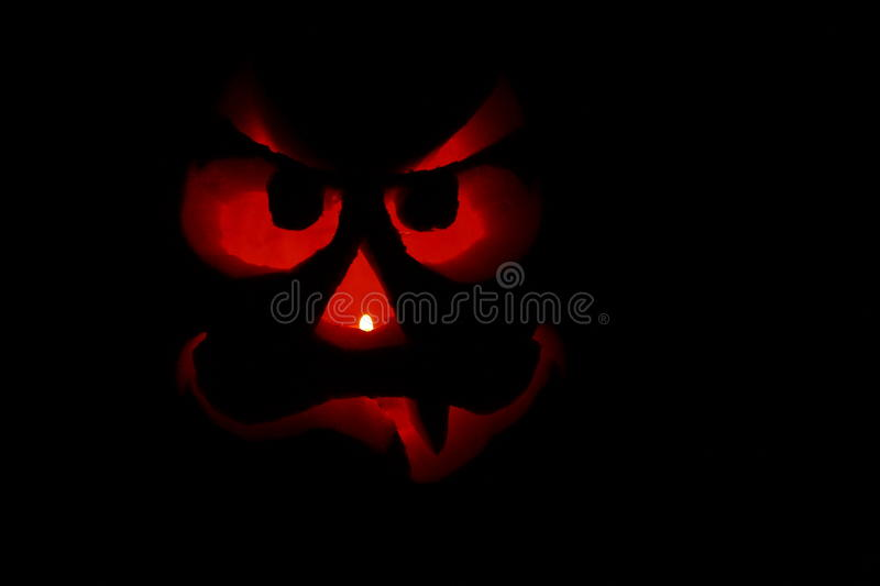 Funny Jack-O-Lantern Face In The Dark Royalty Free Stock Photography
