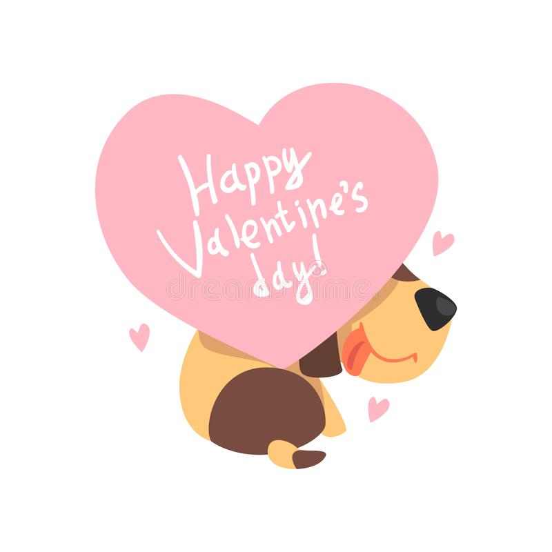 Funny Jack Russell Terrier dog holding a pink heart with inscription Happy Valentines Day, cute Valentine animal. Character vector Illustration isolated on a vector illustration