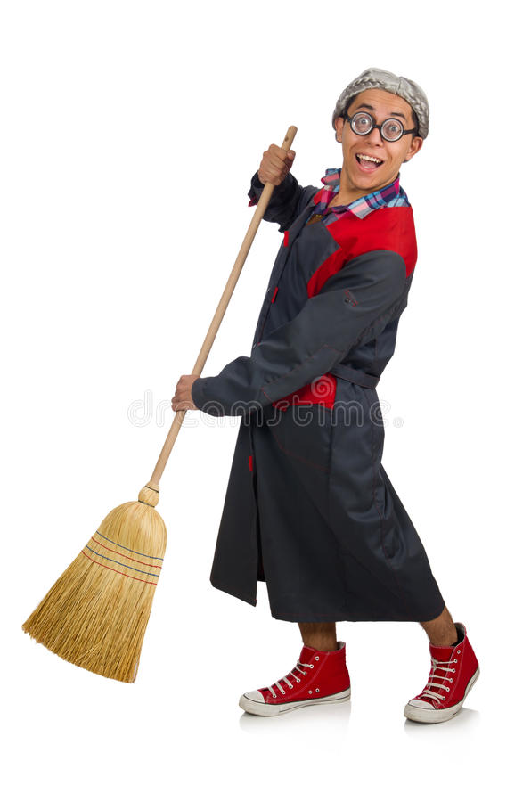 Funny janitor isolated. On white royalty free stock images