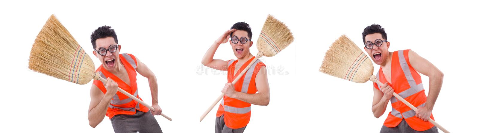 Funny janitor isolated on white royalty free stock photography