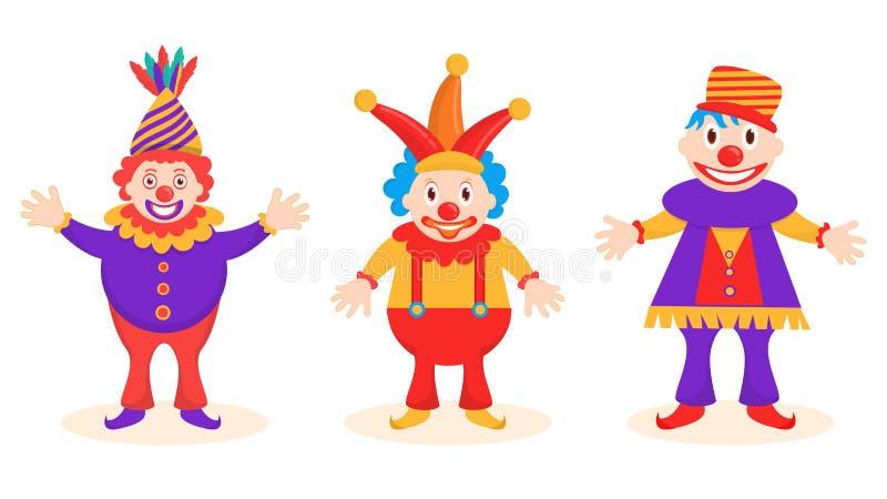 Funny jester character set. stock illustration