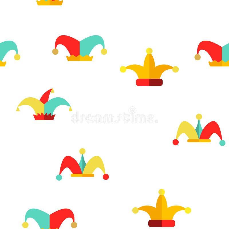 Funny Jester Hat Linear Vector Seamless Pattern stock illustration