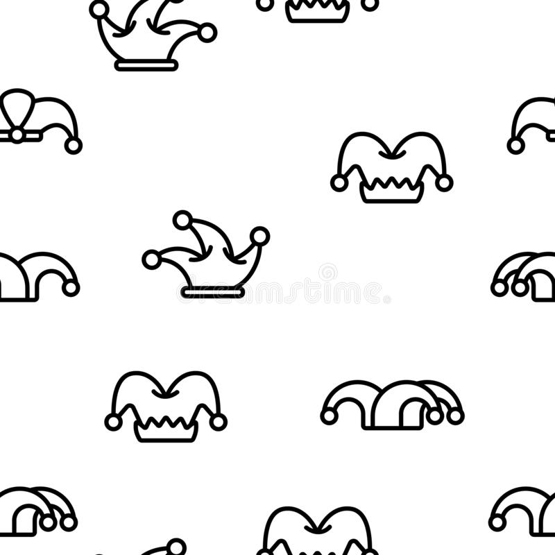 Funny Jester Hat Linear Vector Seamless Pattern vector illustration