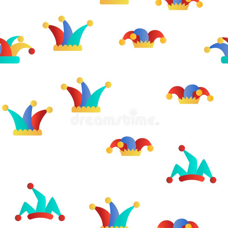 Funny Jester Hat Linear Vector Seamless Pattern royalty free illustration