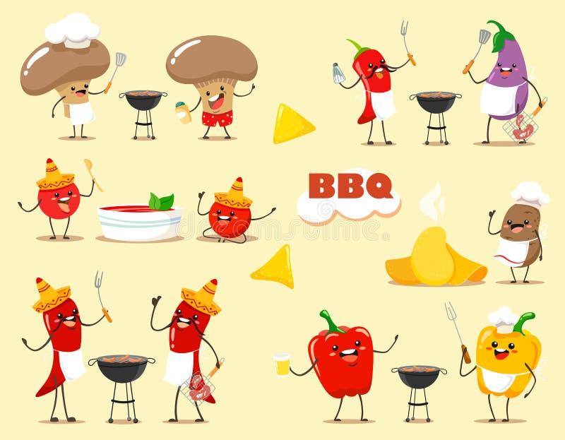 Funny kawaii cartoon vegetables cook barbecue. Vector illustration of a flat style. Funny kawaii cartoon vegetables cook barbecue. Vector illustration vector illustration
