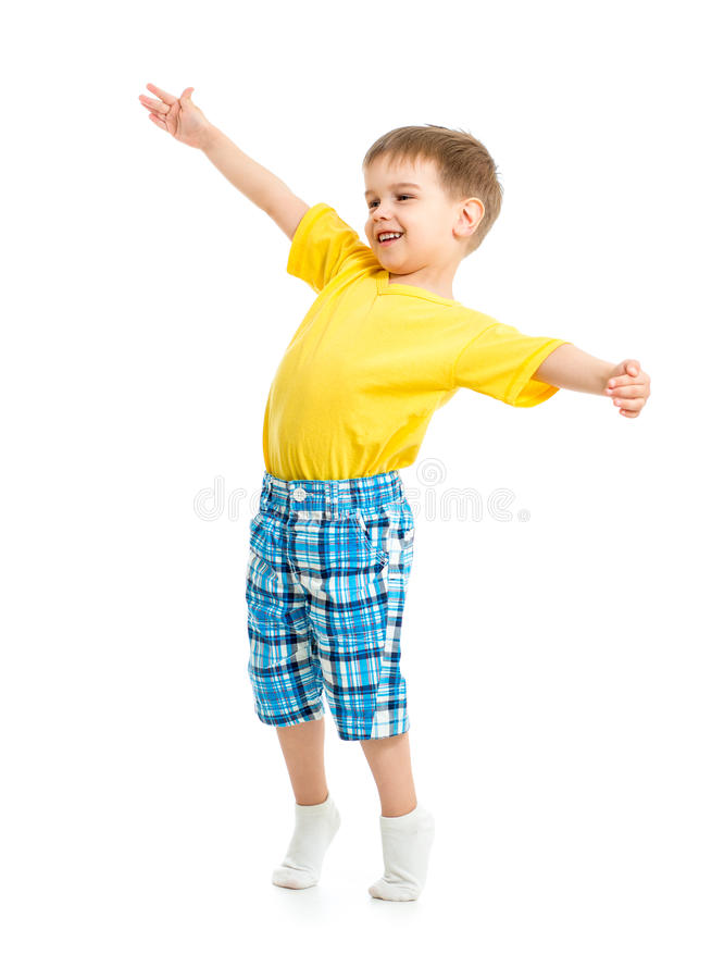 Funny kid boy with open arms isolated stock photo