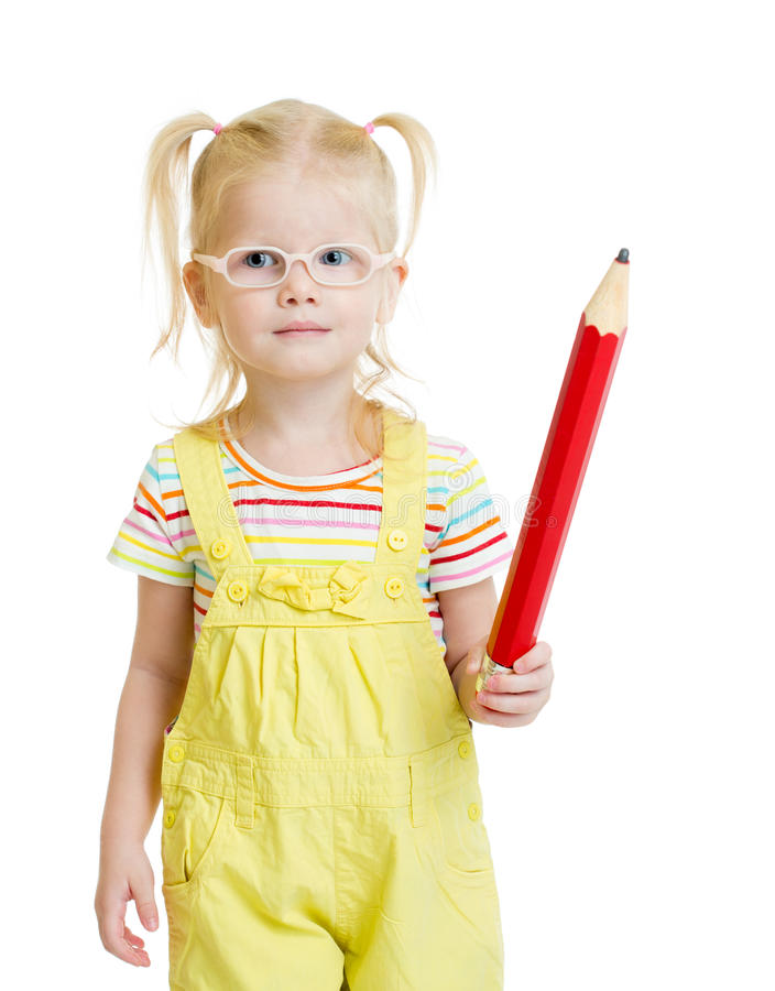 Funny kid in eyeglasses with red pencil isolated stock photo