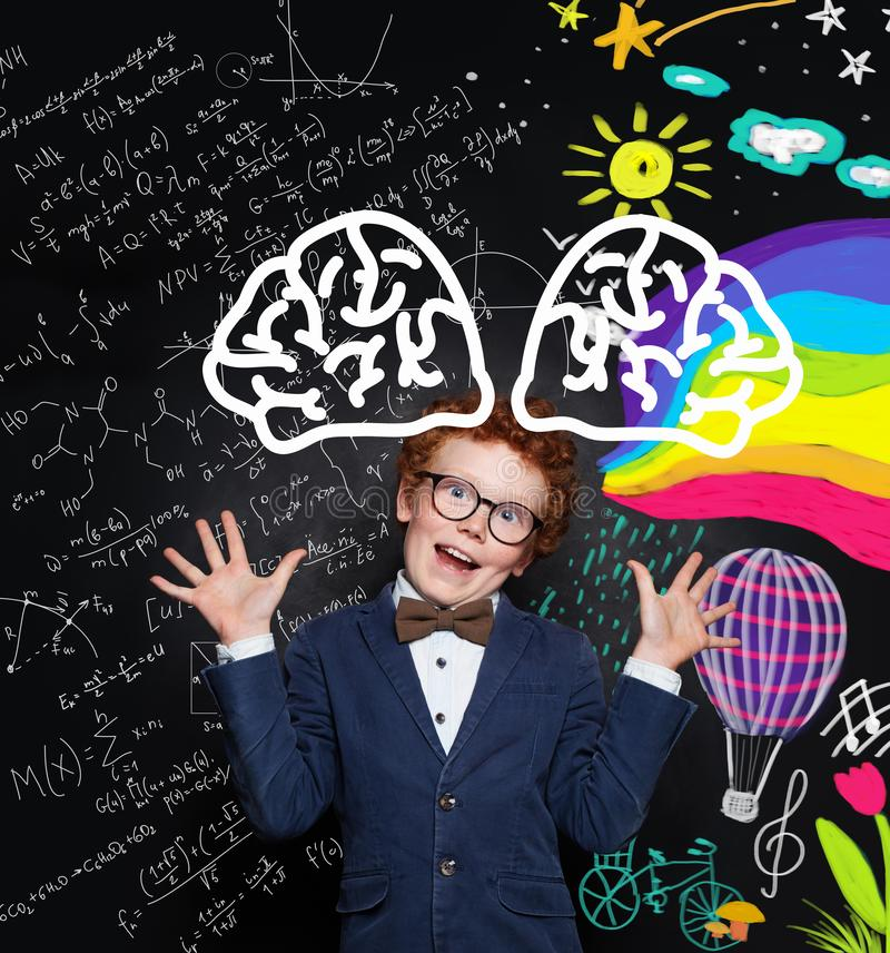 Funny kid in glasses portrait. Creativity concept royalty free stock photo