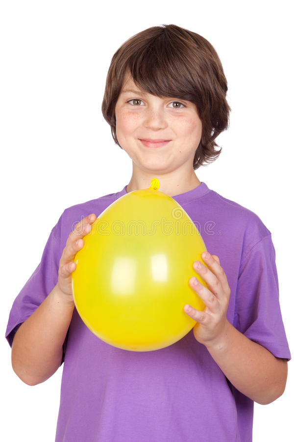 Download Funny Kid With A Yellow Balloon Stock Photo - Image: 14757356