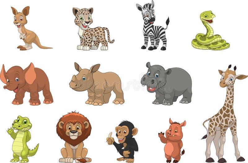 Funny kids animals vector illustration