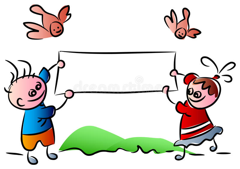 Funny kids with banner stock illustration