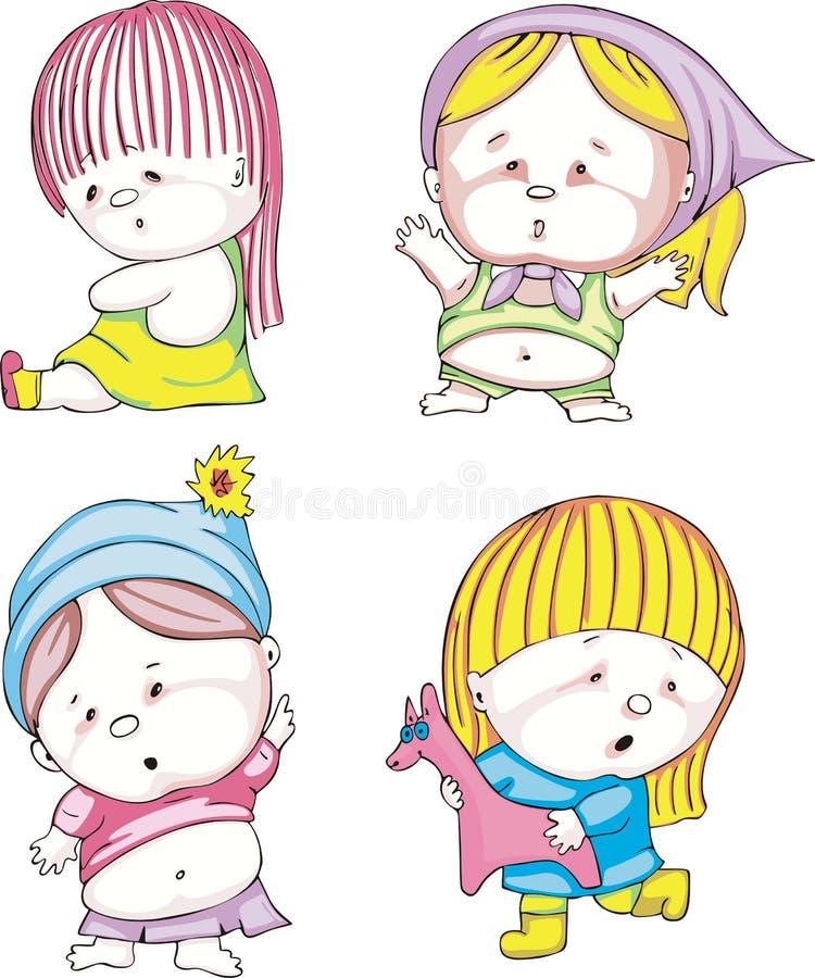 Download Funny kids - girls stock vector. Image of emotion, sitting - 27633325