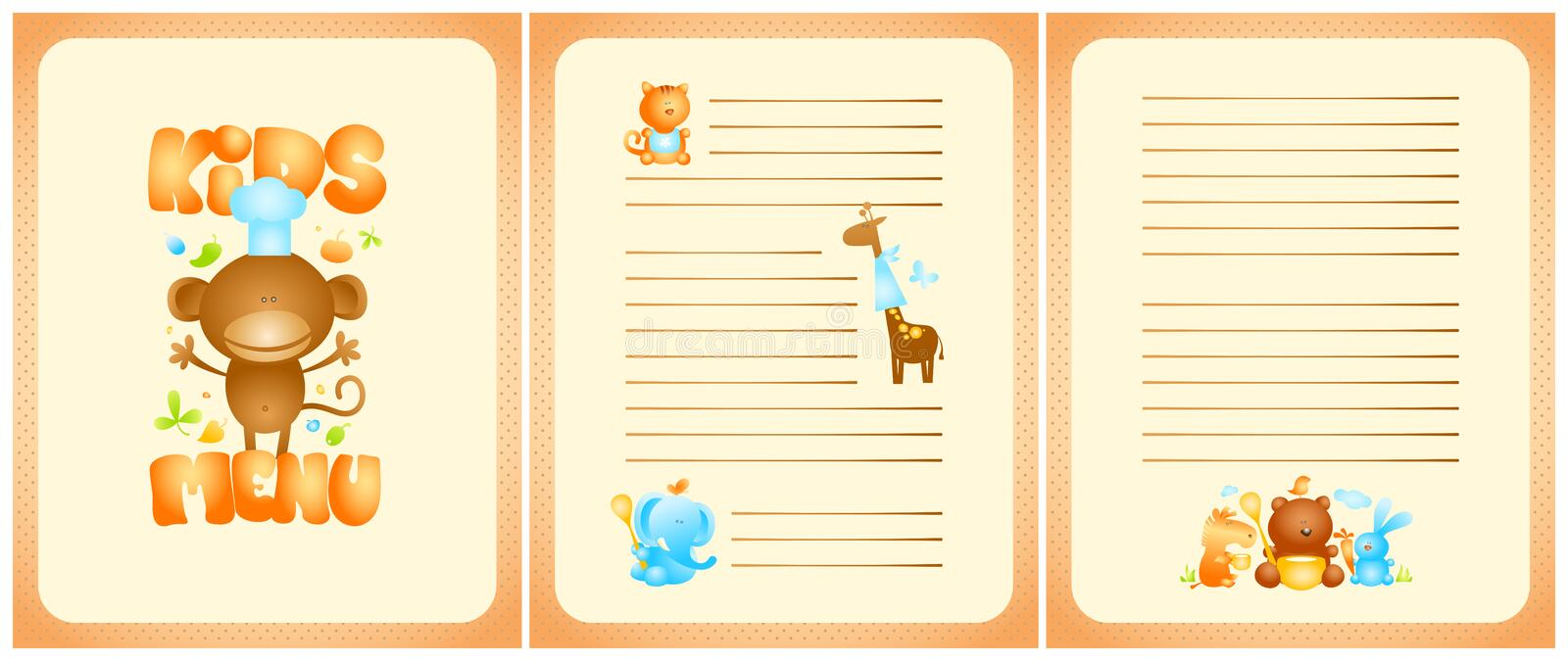Funny kids menu list design with front page and pages for dishes, with cute animals royalty free illustration
