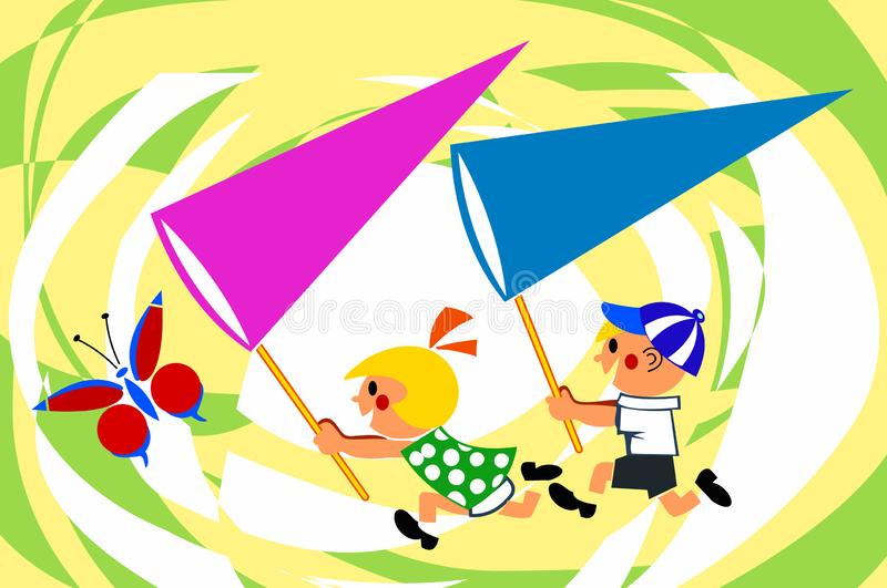 Funny kids run to catch a butterfly. Net in hand. Laugh. Fun. Excitement. Camping. Funny kids run around to catch a butterfly. Clean in hand, laughter, fun royalty free illustration