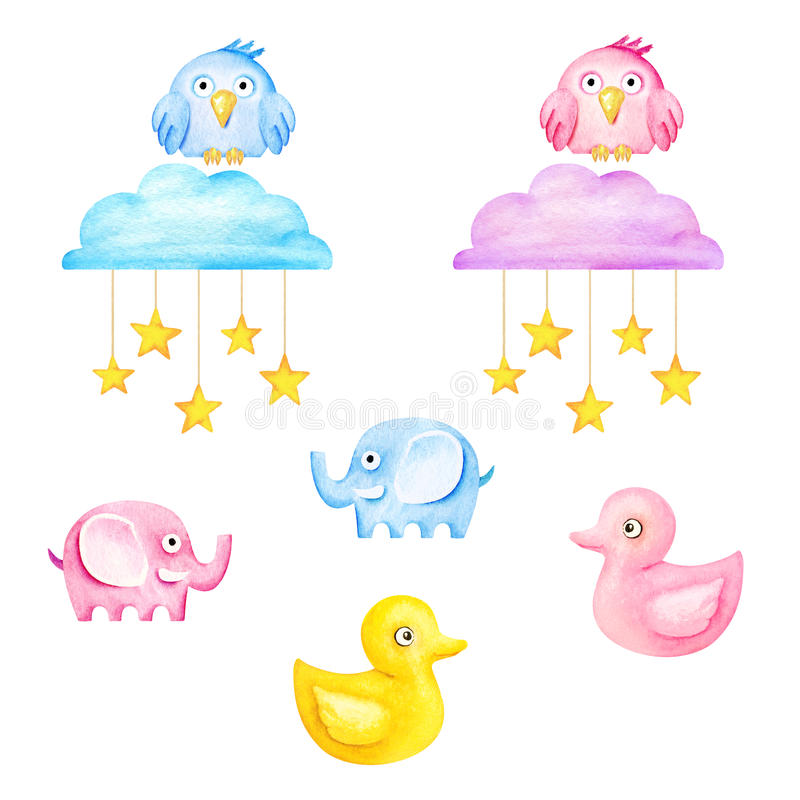 Funny kids toys - elephants, owls, ducks, clouds and stars. Watercolor illustration stock illustration