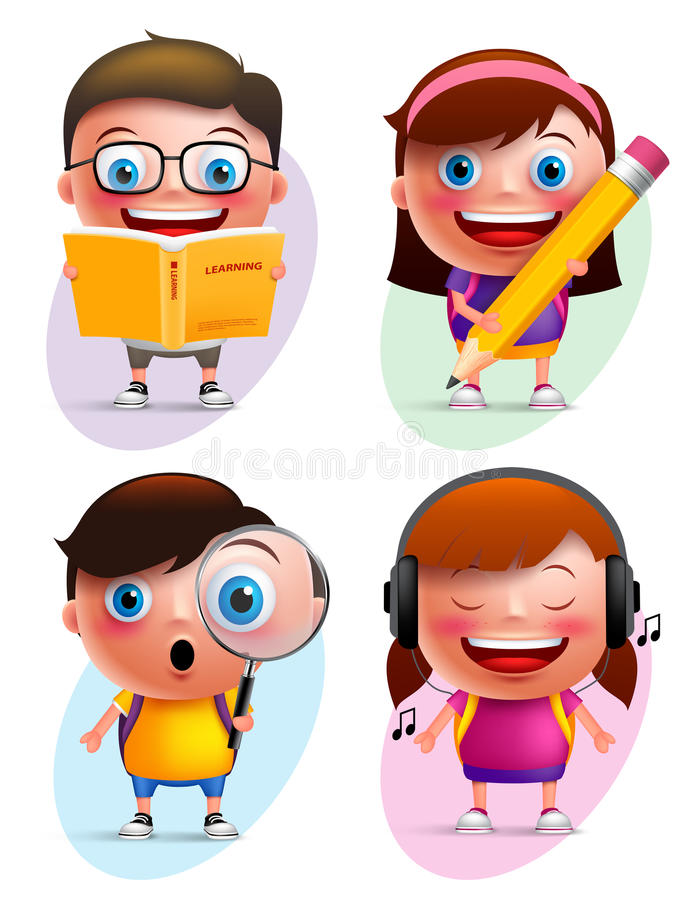 Funny kids vector characters colorful collection reading book and writing. Funny kids vector characters colorful collection reading book, writing, exploring and stock illustration