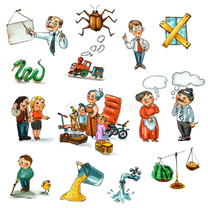 Download Funny Kids On A White Background Stock Illustration - Illustration: 28192313