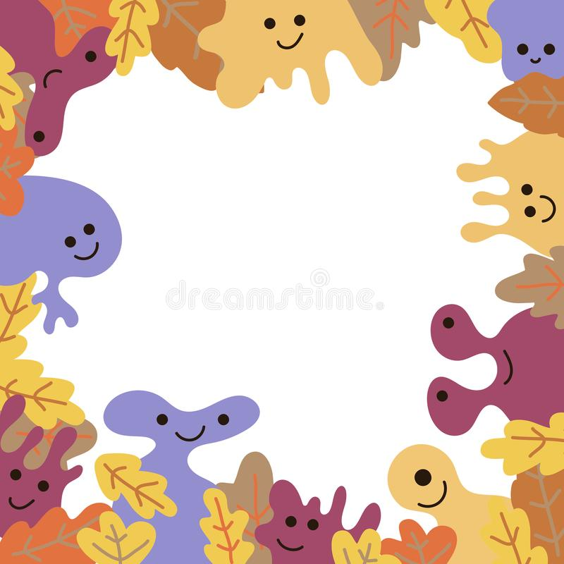 Funny kind monsters, borders for text on white background. Invitation to a holiday, party, poster, article, greeting vector illustration