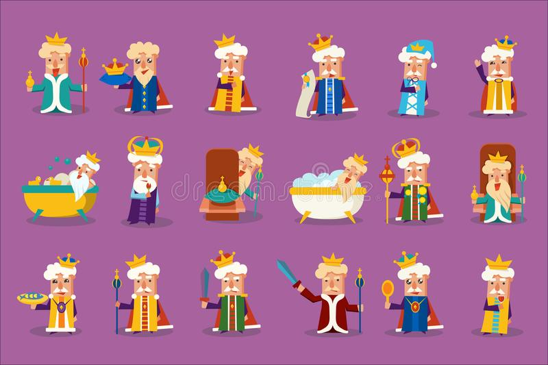 Funny king character posing in different situations set, old imperior showing various emotions vector Illustrations stock illustration