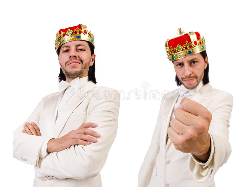 Funny king isolated on the white background stock photo