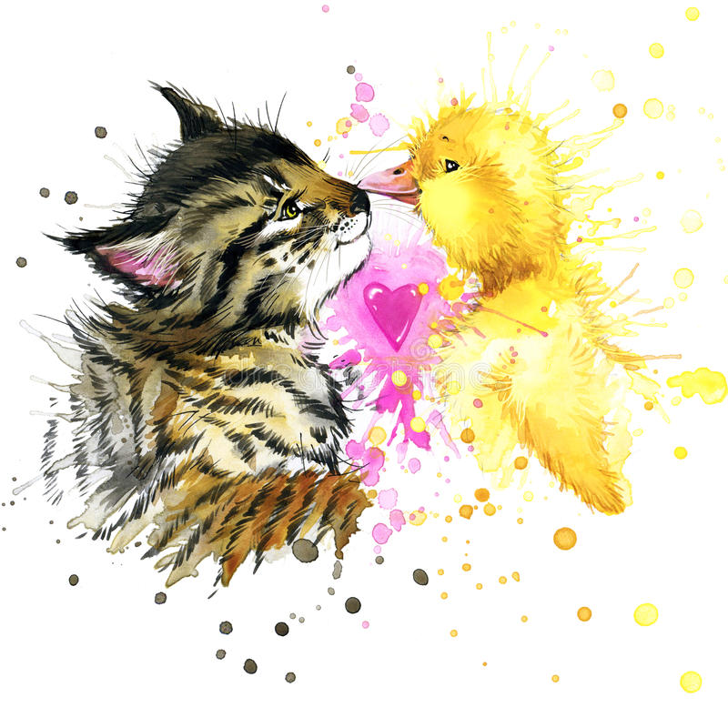 Free Funny Kitten And Duck Watercolor Illustration Stock Image - 54705671
