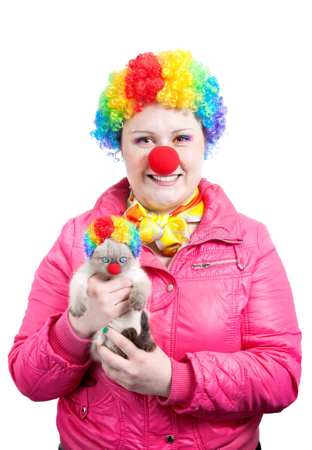 Download Funny Kitten and clown stock image. Image of looking - 19987245