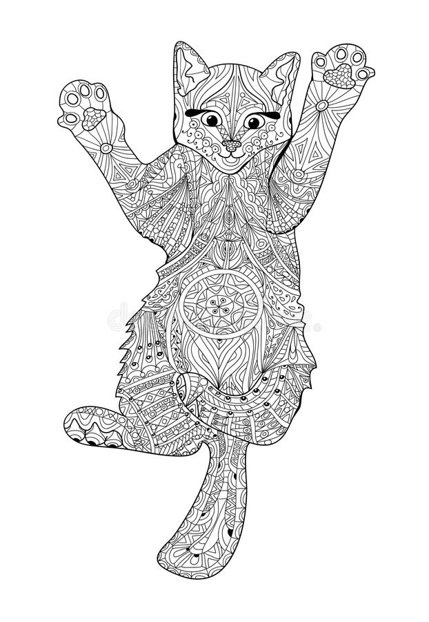 Volwassen Kleurplaat Olifant Funny Kitten Coloring Book For Adults Zentangle Cat