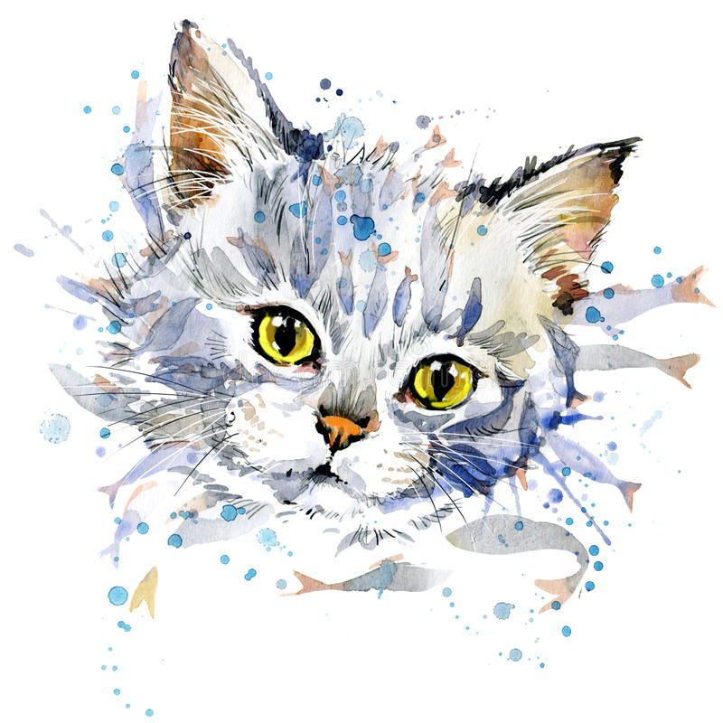 Funny kitten and fish T-shirt graphics vector illustration