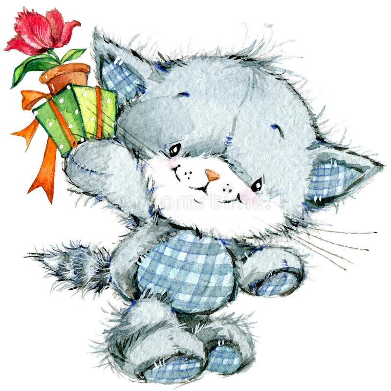 Funny kitten and flower for holiday greetings card and kids bac. Funny kitten. watercolor illustration for kid background