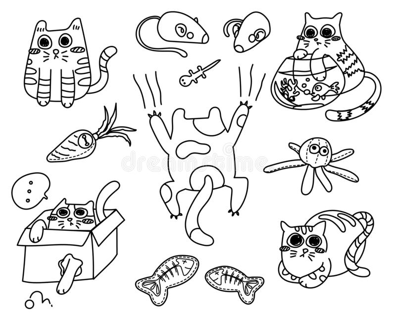 Funny Kitty Cats Colorless. Funny kitty cats with cat toys. cute cats vector illustration cartoon. Colorless hand drawing cartoon royalty free illustration