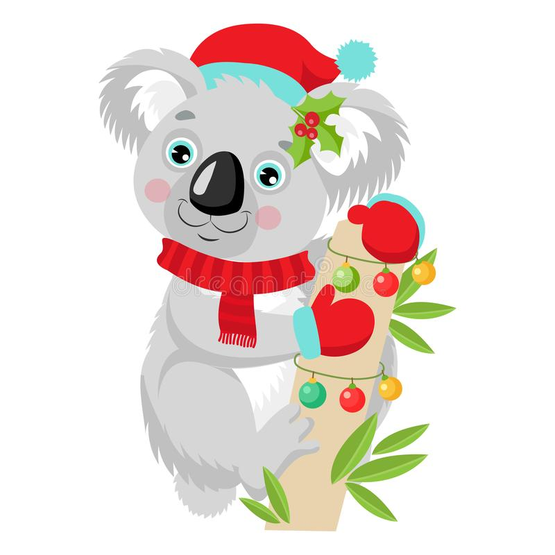 Funny Koala Christmas Vector. Merry Christmas From Australia. Cute Animal Cartoon Character Holiday Vector Illustration On A White Background. Koala In A Santa royalty free illustration