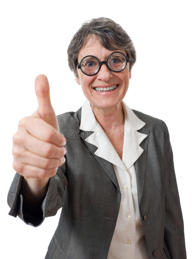 Download Funny lady with thumb up stock photo. Image of studio - 25566752