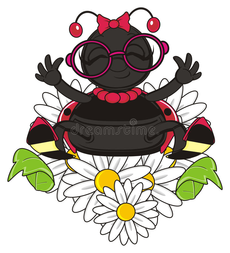 Funny ladybug climbing on the flowers vector illustration