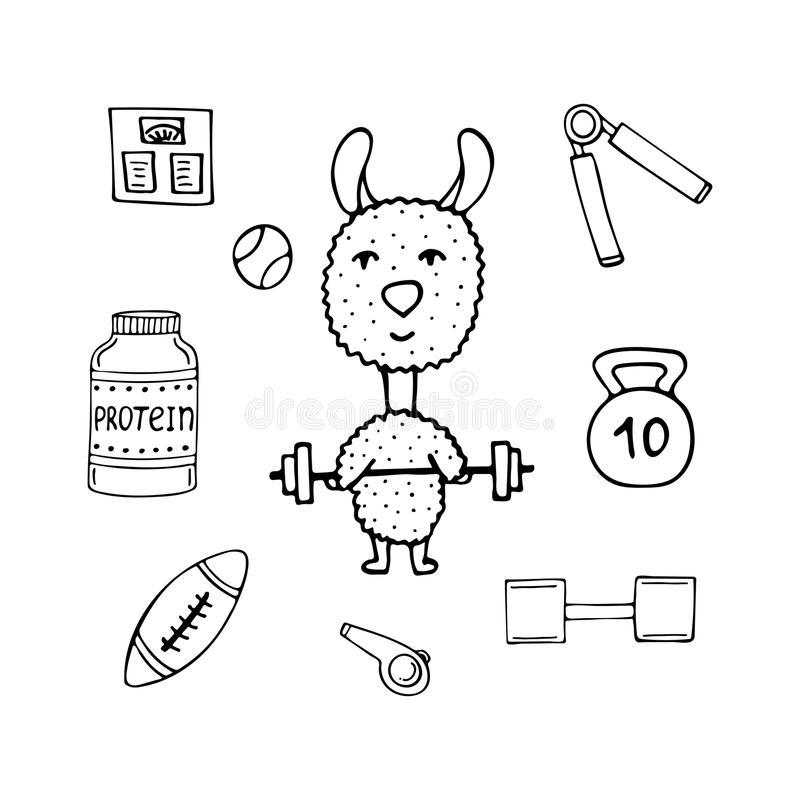 Funny lama the athlete with a bar and sports equipment stock illustration