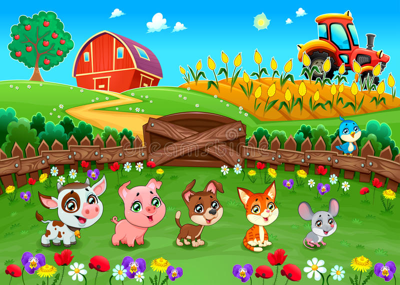 Funny landscape with farm animals vector illustration