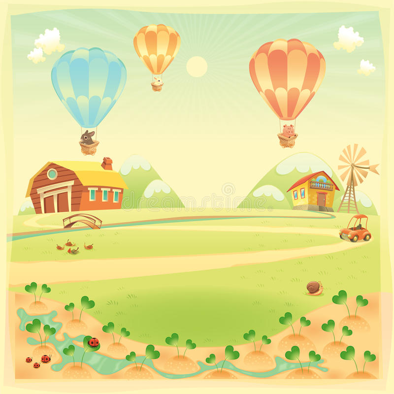 Funny landscape with farm and hot air baloons vector illustration