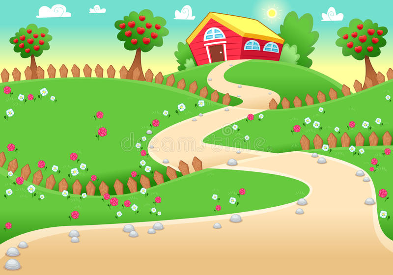 Funny landscape with farm. vector illustration