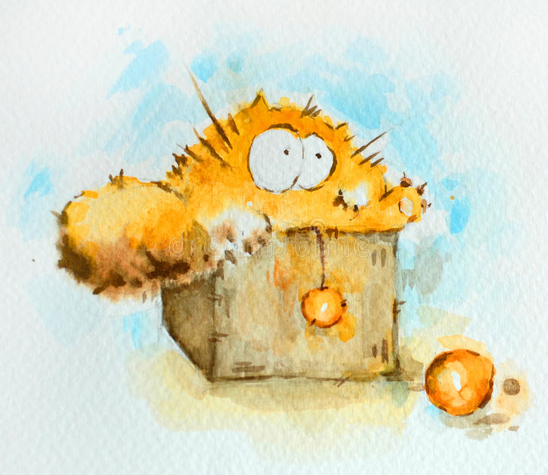 Funny lazy cat. Funny lazy red cat sitting in the box. Watercolor painting stock illustration