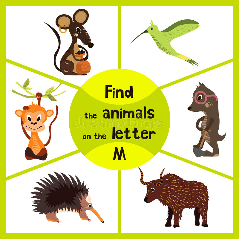 Free Funny Learning Maze Game, Find All 3 Cute Wild Animals With The Letter M, Field Mouse, Macaque Monkey Tropical And Insect-eating M Stock Photography - 66999822