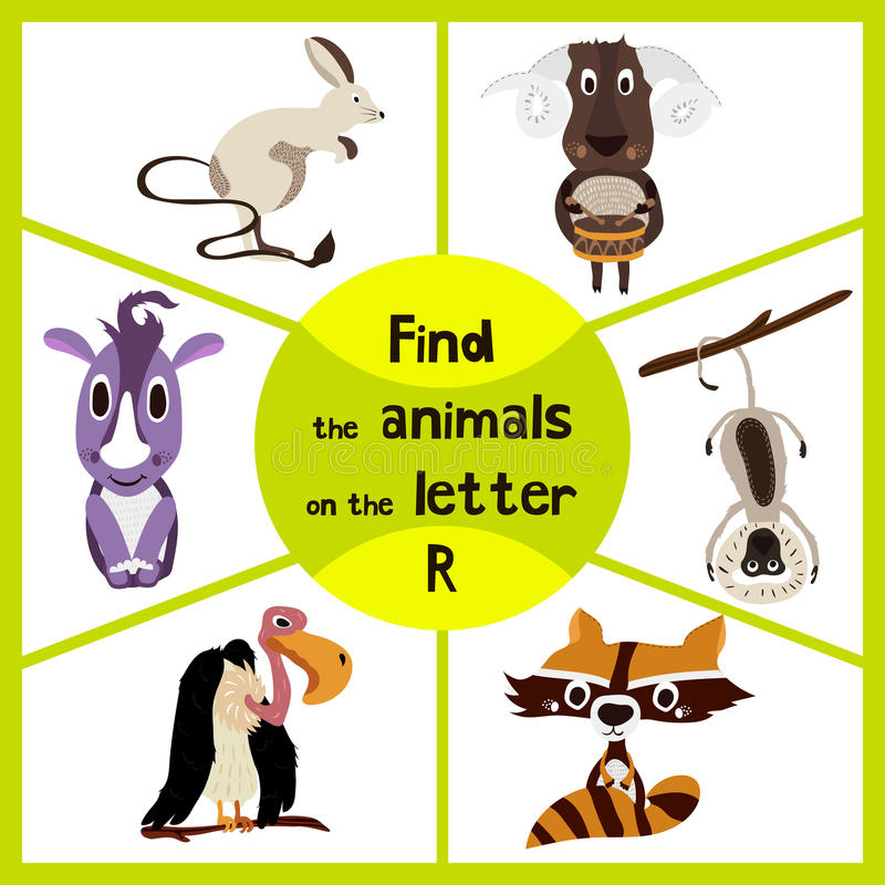 Free Funny Learning Maze Game, Find All 3 Cute Wild Animals With The Letter P, Forest Raccoon, Rhino From Savannah And Domestic Sheep. Stock Photos - 66999773